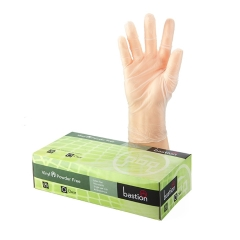 Bastion Vinyl Powder Free Clear Gloves: X-Large - Box of 100